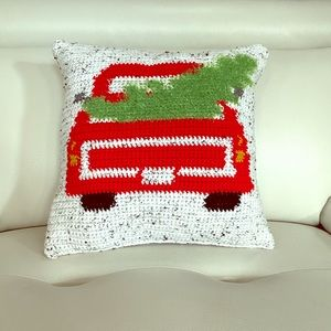 Hand stitched homemade Christmas pillow